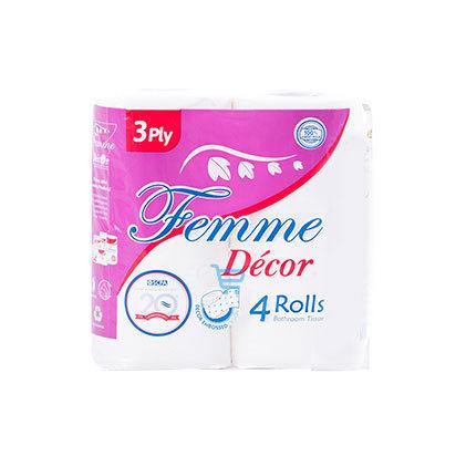 Femme Decor Bathroom Tissue 3ply 4 Rolls