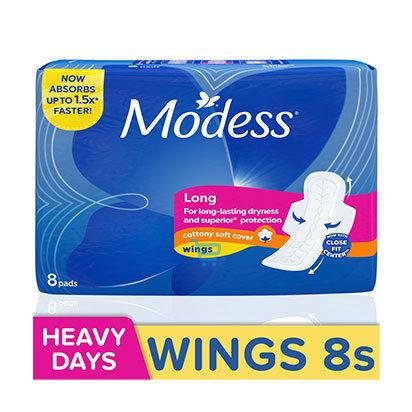 Modess Long Cottony Wings Sanitary Napkin  8s