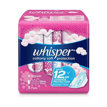 Whisper Regular Cottony 23cm Wings Sanitary Napkin  8s