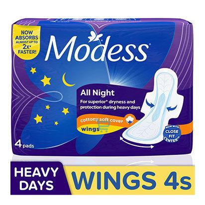 Modess Heavy All Night Cottony Wings Sanitary Napkin  4s