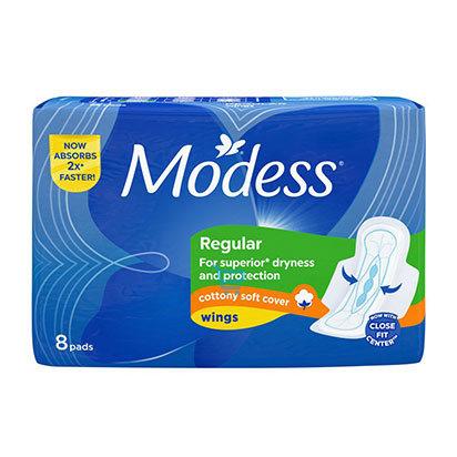 Modess Regular Cottony Wings Sanitary Napkin  8s